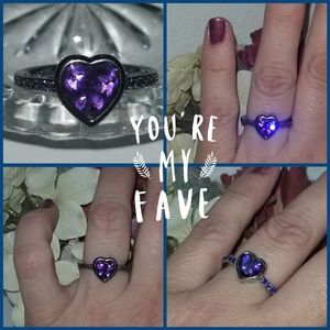 Jewelry - Amethyst Heart Ring in Black Setting
